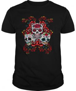 Triple Skull Red Floral Day Of The Dead Sugar Skulls shirt