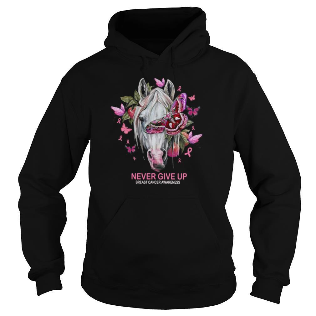 Horse And Butterfly Never Give Up Breast Cancer Awareness shirt