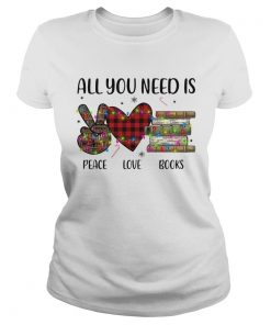 All You Need Is A Peace Love Books Merry Christmas Light  Classic Ladies