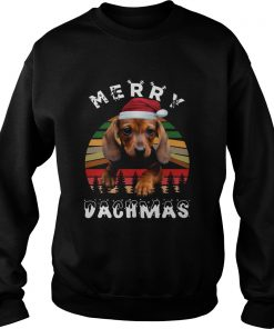 Dachshund Santa Merry Dachmas Christmas Vintage Retro  Sweatshirt