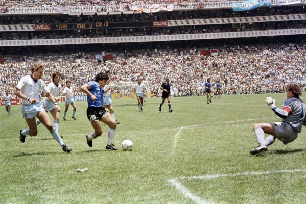 Maradona sweeping through England's defense in 1986 to score one of the most famous goals in World Cup history. Minutes earlier, he had scored one of the most infamous