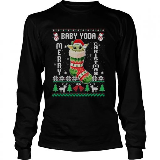 Baby Yoda In The Sock Merry Christmas Ugly shirt