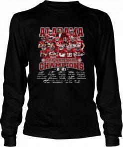 Alabama Crimson Tide CFP national Champions 2021 signatures  Long Sleeved T-shirt
