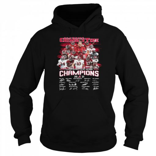 Alabama Crimson Tide College Football Playoff National Champions 2021 Signatures  Unisex Hoodie