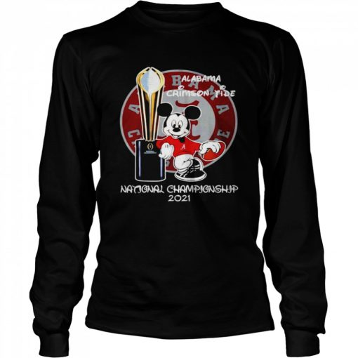 Alabama Crimson Tide Mickey Mouse NCAA national championship 2021  Long Sleeved T-shirt