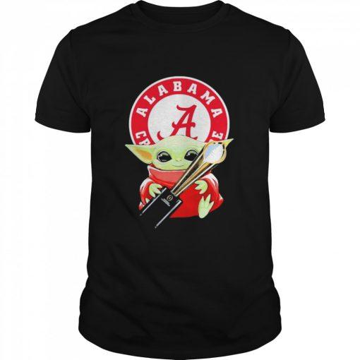 Baby Yoda hug Alabama Crimson Tide  Classic Men's T-shirt