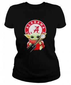 Baby Yoda hug Alabama Crimson Tide  Classic Women's T-shirt