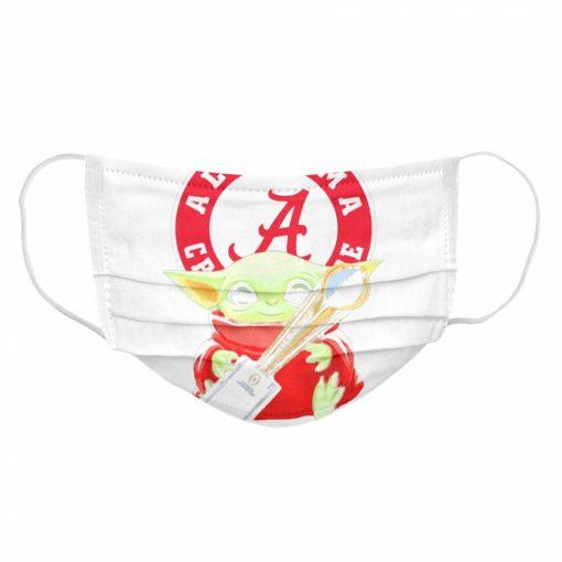 Baby Yoda hug Alabama Crimson Tide  Cloth Face Mask