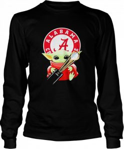Baby Yoda hug Alabama Crimson Tide  Long Sleeved T-shirt