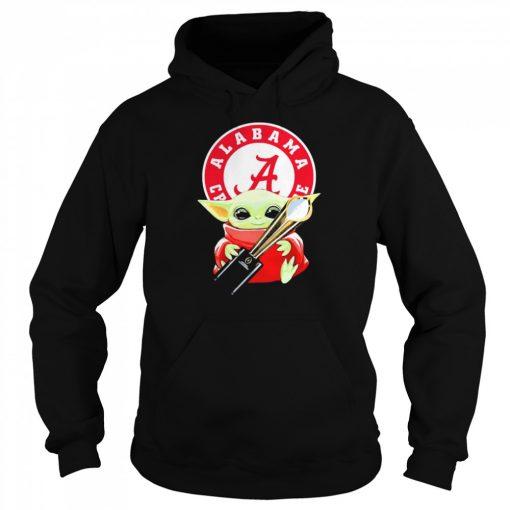 Baby Yoda hug Alabama Crimson Tide  Unisex Hoodie