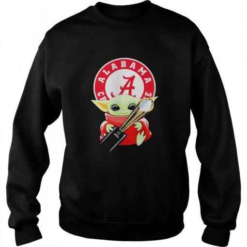 Baby Yoda hug Alabama Crimson Tide  Unisex Sweatshirt