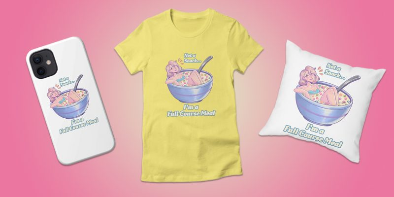 """""""Full Course Meal Cereal"""" Phone Case, Women's Fitted T-Shirt, and Throw Pillow by Sadie Samet, available in Jessie Paege's Artist Shop"""